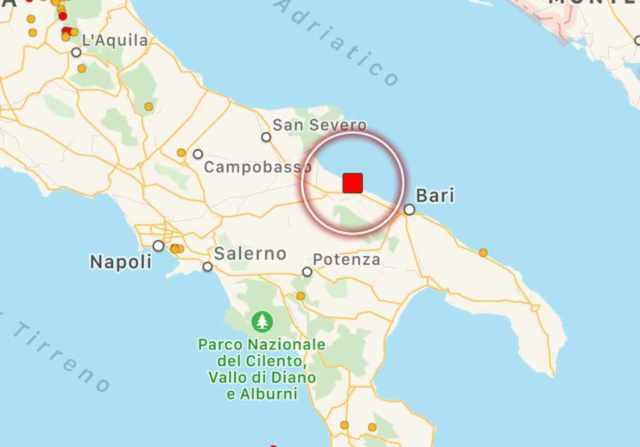 terremoto barletta avvertito bari
