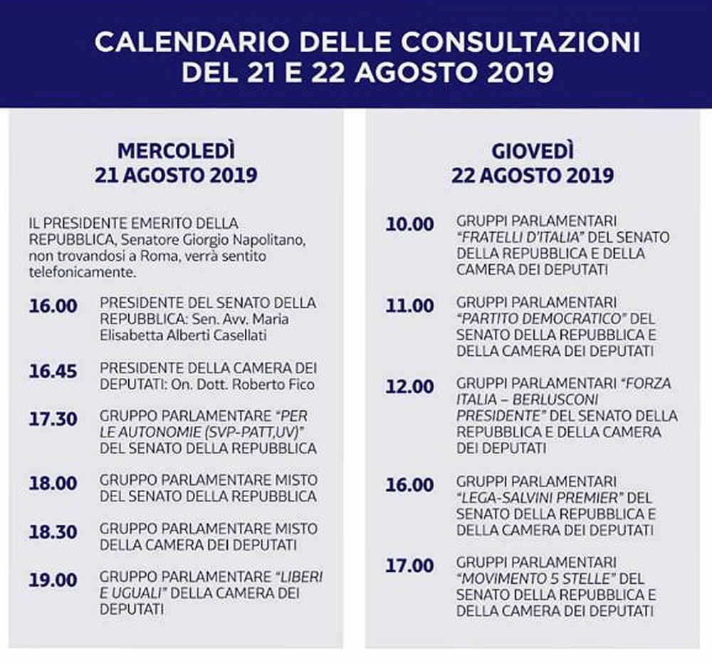 calendario consultazioni quirinale